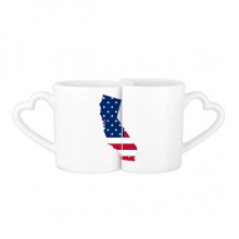 The United States Of America USA California Map Stars And Stripes Flag Shape Lovers' Mug Lover Mugs Set White Pottery Ceramic Cup Gift Milk Coffee Cup with Handles