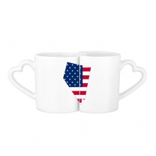 The United States Of America USA Nevada Map Stars And Stripes Flag Shape Lovers' Mug Lover Mugs Set White Pottery Ceramic Cup Gift Milk Coffee Cup with Handles