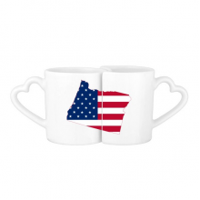 The United States Of America USA Oregon Map Stars And Stripes Flag Shape Lovers' Mug Lover Mugs Set White Pottery Ceramic Cup Gift Milk Coffee Cup with Handles