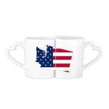 The United States Of America USA Washington Map Stars And Stripes Flag Shape Lovers' Mug Lover Mugs Set White Pottery Ceramic Cup Gift Milk Coffee Cup with Handles