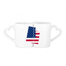The United States Of America USA Utah Map Stars And Stripes Flag Shape Lovers' Mug Lover Mugs Set White Pottery Ceramic Cup Gift Milk Coffee Cup with Handles