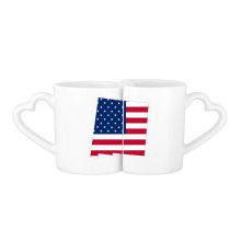 The United States Of America USA New Mexico Map Stars And Stripes Flag Shape Lovers' Mug Lover Mugs Set White Pottery Ceramic Cup Gift Milk Coffee Cup with Handles