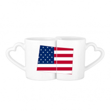 The United States Of America USA Colorado Map Stars And Stripes Flag Shape Lovers' Mug Lover Mugs Set White Pottery Ceramic Cup Gift Milk Coffee Cup with Handles