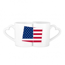 The United States Of America USA Wyoming Map Stars And Stripes Flag Shape Lovers' Mug Lover Mugs Set White Pottery Ceramic Cup Gift Milk Coffee Cup with Handles