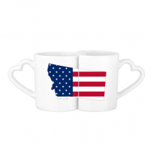 The United States Of America USA Montana Map Stars And Stripes Flag Shape Lovers' Mug Lover Mugs Set White Pottery Ceramic Cup Gift Milk Coffee Cup with Handles