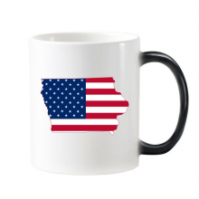 The United States Of America USA Iowa Map Stars And Stripes Flag Shape Morphing Heat Sensitive Changing Color Mug Cup Gift Milk Coffee With Handles 350 ml