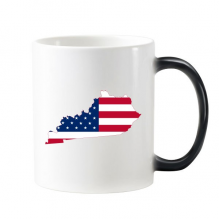 The United States Of America USA Kentucky Map Stars And Stripes Flag Shape Morphing Heat Sensitive Changing Color Mug Cup Gift Milk Coffee With Handles 350 ml