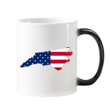 The United States Of America USA North Carolina Map Stars And Stripes Flag Shape Morphing Heat Sensitive Changing Color Mug Cup Gift Milk Coffee With Handles 350 ml