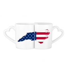 The United States Of America USA North Carolina Map Stars And Stripes Flag Shape Lovers' Mug Lover Mugs Set White Pottery Ceramic Cup Gift Milk Coffee Cup with Handles