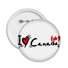 I Love Canada Word Flag Love Heart Illustration Pattern Round Pins Badge Button Clothing Decoration Gift 5pcs