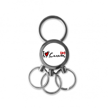 I Love Canada Word Flag Love Heart Illustration Pattern Metal Key Chain Ring Car Keychain Creative Trinket Keyring Novelty Item Best Charm Gift
