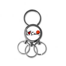 I Love China Word Flag Love Heart Illustration Pattern Metal Key Chain Ring Car Keychain Creative Trinket Keyring Novelty Item Best Charm Gift