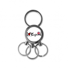 I Love England Word Flag Love Heart Illustration Pattern Metal Key Chain Ring Car Keychain Creative Trinket Keyring Novelty Item Best Charm Gift
