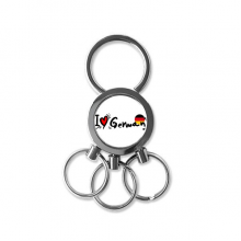I Love German Word Flag Love Heart Illustration Pattern Metal Key Chain Ring Car Keychain Creative Trinket Keyring Novelty Item Best Charm Gift