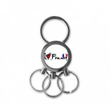 I Love France Word Flag Love Heart Illustration Pattern Metal Key Chain Ring Car Keychain Creative Trinket Keyring Novelty Item Best Charm Gift