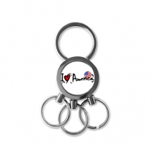 I Love America Word Flag Love Heart Illustration Pattern Metal Key Chain Ring Car Keychain Creative Trinket Keyring Novelty Item Best Charm Gift