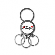 I Love Japan Word Flag Love Heart Illustration Pattern Metal Key Chain Ring Car Keychain Creative Trinket Keyring Novelty Item Best Charm Gift