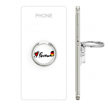I Love German Word Flag Love Heart Illustration Pattern Metal Rotation Ring Stand Holder Bracket for Smartphones Cell Phone Support Accessories Gift