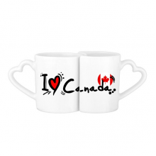 I Love Canada Word Flag Love Heart Illustration Pattern Lovers' Mug Lover Mugs Set White Pottery Ceramic Cup Gift Milk Coffee Cup with Handles