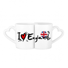I Love England Word Flag Love Heart Illustration Pattern Lovers' Mug Lover Mugs Set White Pottery Ceramic Cup Gift Milk Coffee Cup with Handles