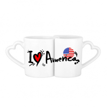 I Love America Word Flag Love Heart Illustration Pattern Lovers' Mug Lover Mugs Set White Pottery Ceramic Cup Gift Milk Coffee Cup with Handles
