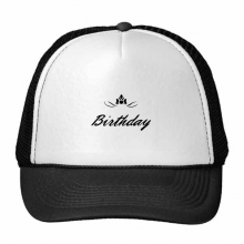 Abstract Flower Black And White Happy Birthday Gifts Presents Letters Blessing Beautiful Best Wishes Trucker Hat Baseball Cap Nylon Mesh Hat Cool Children Hat Adjustable Cap Gift