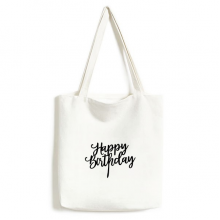 Abstract Letters Happy Birthday Abstract Gifts Presents  Blessing Beautiful Best Wishes Fashionable Design High Quality Canvas Bag Environmentally Tote Large Gift Capacity Shopping Bags