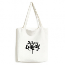 Abstract Black And White Happy Birthday Gifts Presents Letters Blessing Beautiful Best Wishes Fashionable Design High Quality Canvas Bag Environmentally Tote Large Gift Capacity Shopping Bags