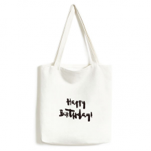 Abstract Happy Birthday Gifts Presents Letters Blessing Beautiful Best Wishes Fashionable Design High Quality Canvas Bag Environmentally Tote Large Gift Capacity Shopping Bags