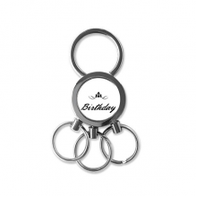 Abstract Flower Black And White Happy Birthday Gifts Presents Letters Blessing Beautiful Best Wishes Metal Key Chain Ring Car Keychain Creative Trinket Keyring Novelty Item Best Charm Gift