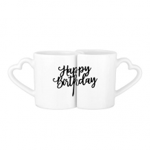 Abstract Letters Happy Birthday Abstract Gifts Presents  Blessing Beautiful Best Wishes Lovers' Mug Lover Mugs Set White Pottery Ceramic Cup Gift Milk Coffee Cup with Handles
