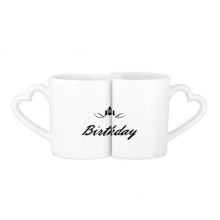Abstract Flower Black And White Happy Birthday Gifts Presents Letters Blessing Beautiful Best Wishes Lovers' Mug Lover Mugs Set White Pottery Ceramic Cup Gift Milk Coffee Cup with Handles