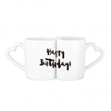 Abstract Happy Birthday Gifts Presents Letters Blessing Beautiful Best Wishes Lovers' Mug Lover Mugs Set White Pottery Ceramic Cup Gift Milk Coffee Cup with Handles