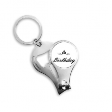 Abstract Flower Black And White Happy Birthday Gifts Presents Letters Blessing Beautiful Best Wishes Metal Key Chain Ring Multi-function Nail Clippers Bottle Opener Car Keychain Best Charm Gift