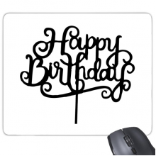 Abstract Black And White Happy Birthday Gifts Presents Letters Blessing Beautiful Best Wishes Rectangle Non-Slip Rubber Mousepad Game Mouse Pad Gift