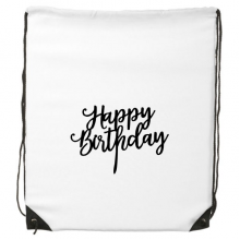 Abstract Letters Happy Birthday Abstract Gifts Presents  Blessing Beautiful Best Wishes Drawstring Backpack Fine Lines Shopping Creative Handbag Gift Shoulder Environmental Polyester Bag