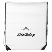 Abstract Flower Black And White Happy Birthday Gifts Presents Letters Blessing Beautiful Best Wishes Drawstring Backpack Fine Lines Shopping Creative Handbag Gift Shoulder Environmental Polyester Bag