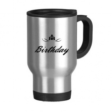 Abstract Flower Black And White Happy Birthday Gifts Presents Letters Blessing Beautiful Best Wishes Stainless Steel Travel Mug Travel Mugs Gifts With Handles 13oz