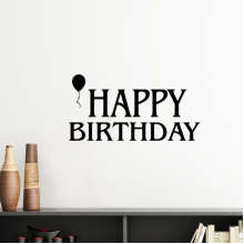 Ballon Abstract Black And White Happy Birthday Gifts Presents Letters Blessing Beautiful Best Wishes Silhouette  Removable Wall Sticker Art Decals Mural DIY Wallpaper for Room Decal