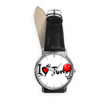 I Love Turkey Word Flag Love Heart Illustration Pattern Quartz Analog Wrist Business Casual Watch with Stainless Steel Case Gift