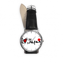 I Love Japan Word Flag Love Heart Illustration Pattern Quartz Analog Wrist Business Casual Watch with Stainless Steel Case Gift
