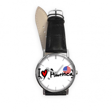 I Love America Word Flag Love Heart Illustration Pattern Quartz Analog Wrist Business Casual Watch with Stainless Steel Case Gift