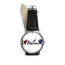 I Love Australia Word Flag Love Heart Illustration Pattern Quartz Analog Wrist Business Casual Watch with Stainless Steel Case Gift