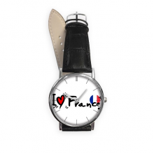 I Love France Word Flag Love Heart Illustration Pattern Quartz Analog Wrist Business Casual Watch with Stainless Steel Case Gift