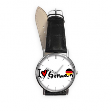 I Love German Word Flag Love Heart Illustration Pattern Quartz Analog Wrist Business Casual Watch with Stainless Steel Case Gift