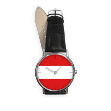 Austria National Flag Europe Country Symbol Mark Pattern Quartz Analog Wrist Business Casual Watch with Stainless Steel Case Gift