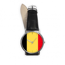 Belgium National Flag Europe Country Symbol Mark Pattern Quartz Analog Wrist Business Casual Watch with Stainless Steel Case Gift