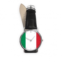 Italy National Flag Europe Country Symbol Mark Pattern Quartz Analog Wrist Business Casual Watch with Stainless Steel Case Gift