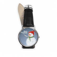 Christmas Snowman Merry Christmas Festival Illustration Pattern Quartz Analog Wrist Business Casual Watch with Stainless Steel Case Gift