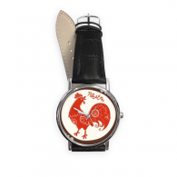 Chinese Zodiac Sign Happy New Year 2017 Year of the Rooster Pattern Illustration Quartz Analog Wrist Business Casual Watch with Stainless Steel Case Gift